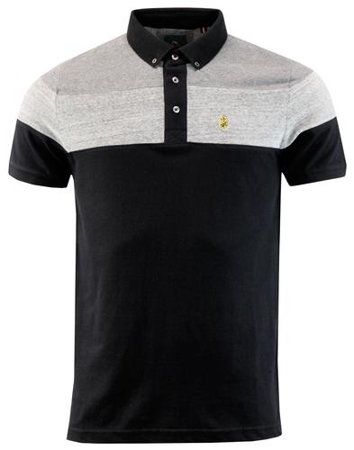 Mickey Velvet LUKE 1977 Retro Mod Panel Polo BLACK