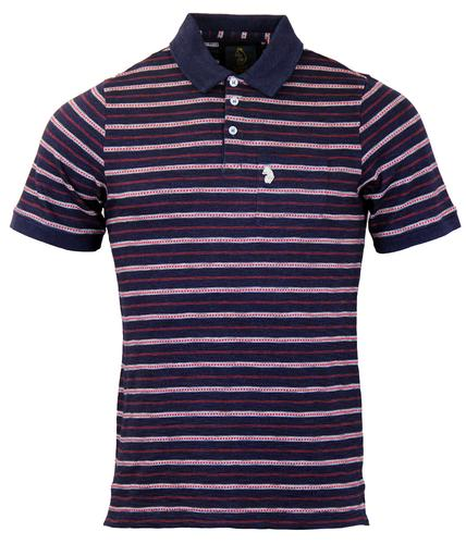 Gino LUKE DENIM Indigo Engineered Stripe Mod Polo