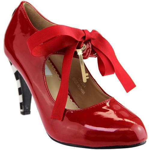 95b0dc115915 LULU HUN Alice Vintage PU High Heels In Bright Red