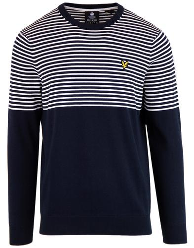 LYLE & SCOTT Retro Mod Breton Stripe Jumper NAVY