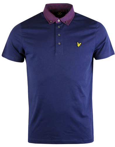 LYLE & SCOTT Mod Mouline Gingham Woven Collar Polo