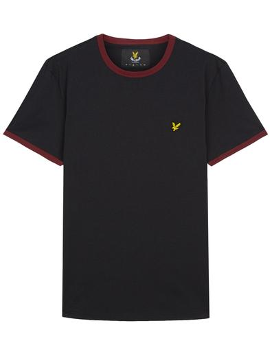 LYLE & SCOTT Retro Mod Crew Neck Ringer Tee BLACK