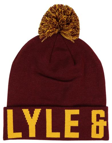 LYLE & SCOTT Retro Text Knitted Text Bobble Hat C