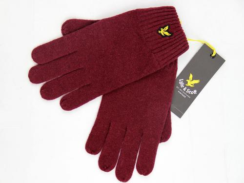 LYLE AND SCOTT RETRO MOD LAMBSWOOL GLOVES CLARET