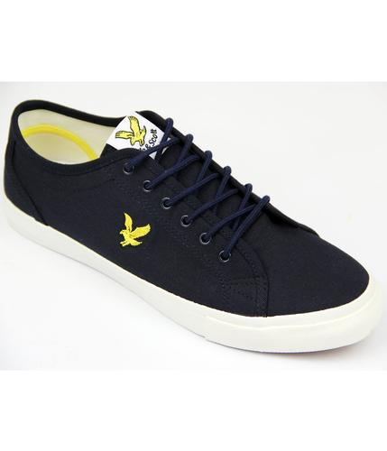 LYLE AND SCOTT RETRO MOD TWILL TRAINERS NAVY