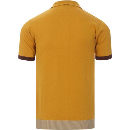 madcap england mens knitted button through polo tshirt spruce yellow