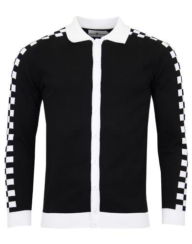 54b6c2241f Rocksteady Men s Mod Ska Checkerboard Knitted Polo Cardigan
