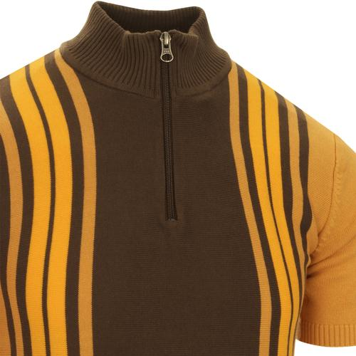 madcap england mens knitted half zip cycling short sleeve top spruce yellow