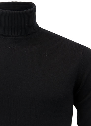 Newman Retro 60s Mod Roll Neck Knitted Jumper In Black