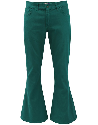Madcap England Retro Mod 60s 70s Bellbottoms Flares In Teal