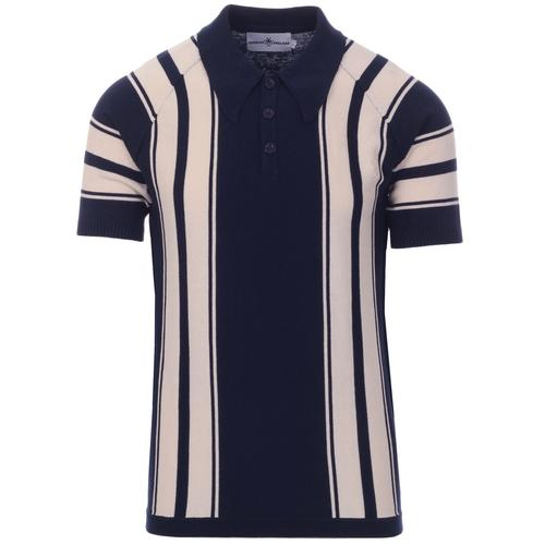 Madcap England Acid Test 60s Mod Big Collar Stripe Knit Polo Top in Navy