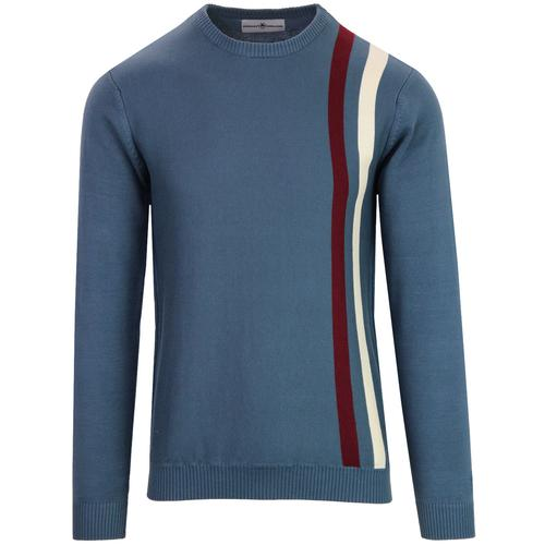 Madcap England Action Retro 1960s Mod Racing Jumper in Orion Blue