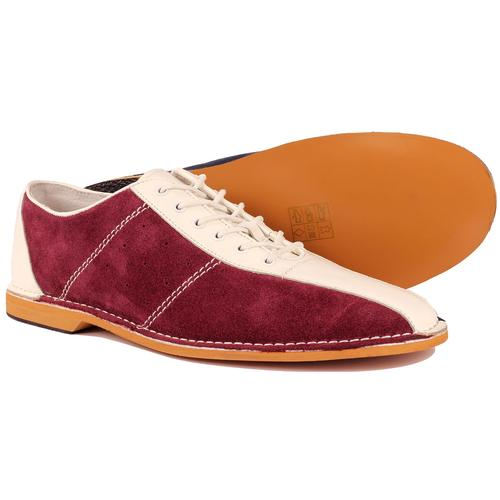 Madcap England All Up Retro Mod Northern Soul Bowling Shoes in Wine/White/Navy