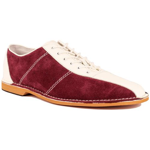 Madcap England All Up Men's Mod Northern Soul Bowling Shoes in Wine/White/Navy