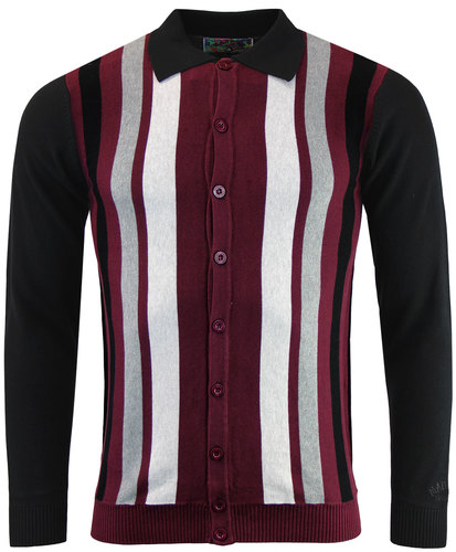 baltimore retro 1960s mod stripe knit button through polo