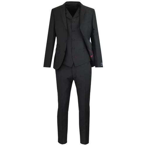 Madcap England Tailored Mod 3 Button Mohair Suit in Black