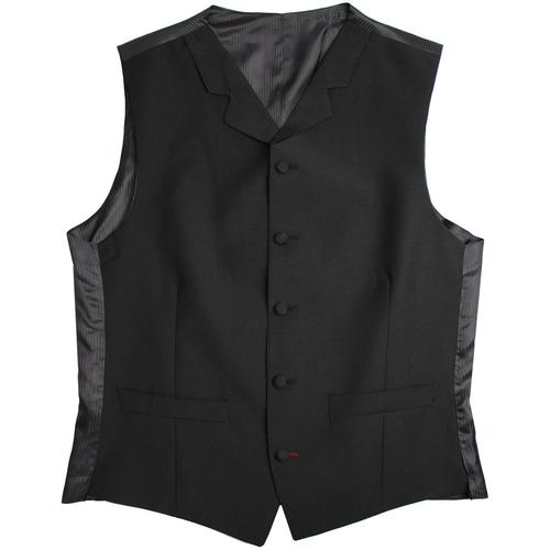 Madcap England Mens Retro Mod Tailored Mohair High Fasten Lapel Waistcoat in Black