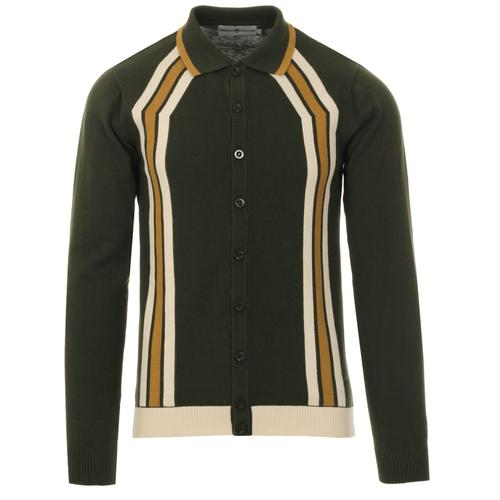 Madcap England Blast men's 60s mod contoured stripe knitted polo cardigan in rosin