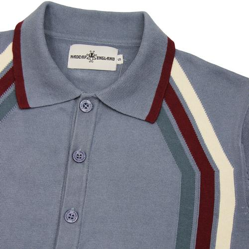 Madcap England Blast Retro Mod Stripe Knit Polo Cardigan in Flintstone