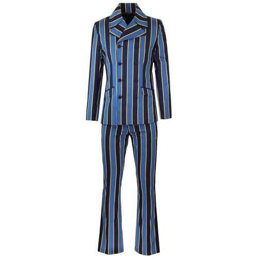 Madcap England Backbeat Retro Mod Double Breasted Boating Stripe Suit with Flared Trousers