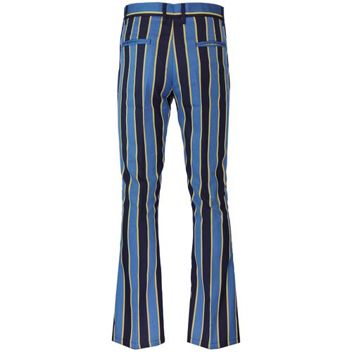 Madcap England Backbeat Mens Retro Mod Bootcut Flared Trousers in Blue and Yellow.