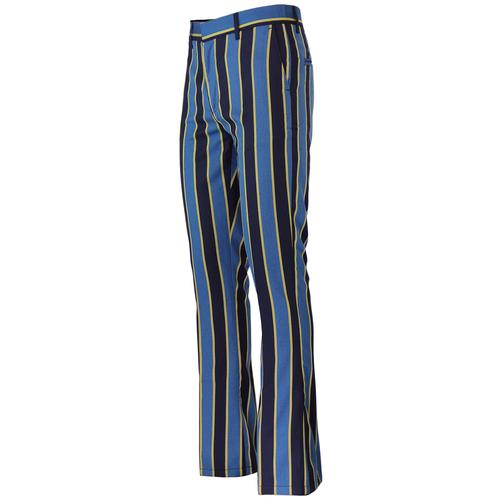 Madcap England Backbeat Mens 1960s Mod Bootcut Flared Trousers in Blue and Yellow.