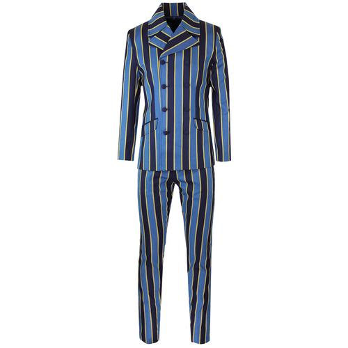 Madcap England Backbeat Retro Mod Double Breasted Boating Stripe Suit with Slim Trousers