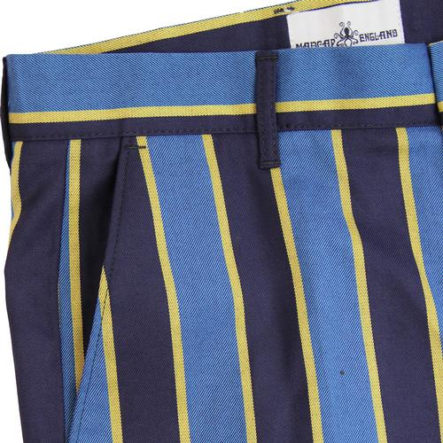 Madcap England Backbeat Mens Retro Mod Striped Bootcut Flare Trousers in Blue and Yellow.