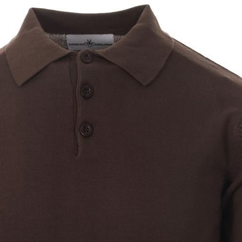 Madcap England Brando Men's Mod Knitted polo Shirt in Graphite