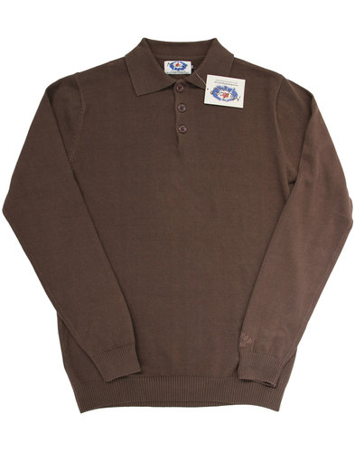 madcap england brando retro mod knitted polo brown