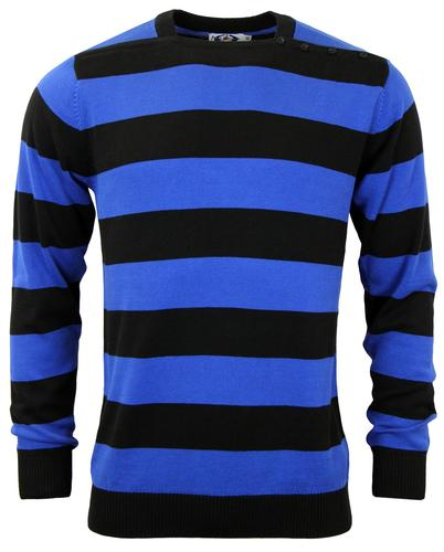 MADCAP ENGLAND RETRO 60s JONES STRIPE JUMPER BLUE