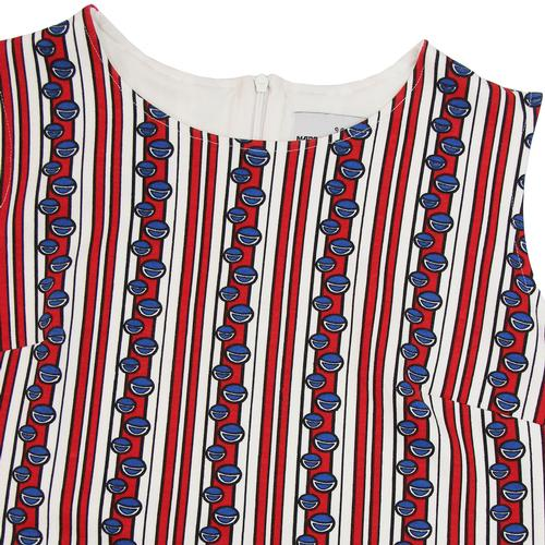 Madcap England Retro 1960s Mod Bubble Stripe Print Sleeveless Dress