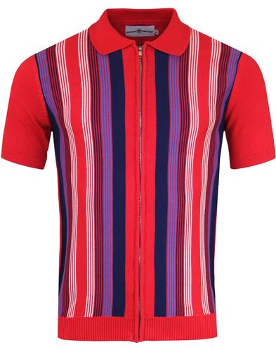 Capitol MADCAP ENGLAND 60s Mod Zip Stripe Polo RED