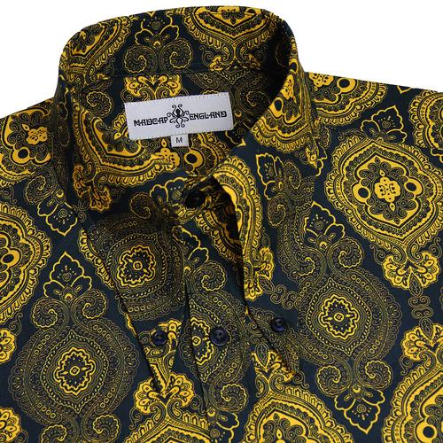 Madcap England Retro 1960s Mod Baroque Paisley Psychedelic Spear Collar Shirt in Navy