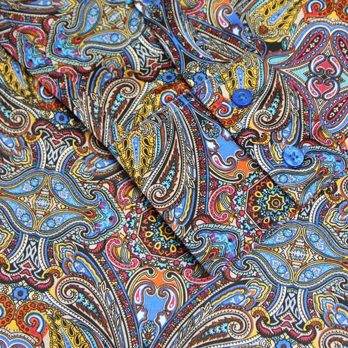 Madcap England Capo Men's Retro 60s Mod Psychedelic Paisley Button Down Spear Collar Shirt in Blue