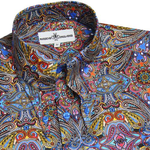Madcap England Capo Men's Retro 1960s Mod Psychedelic Paisley Spear Collar Shirt in Blue