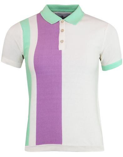 madcap england celia 60s mod stripe panel polo top