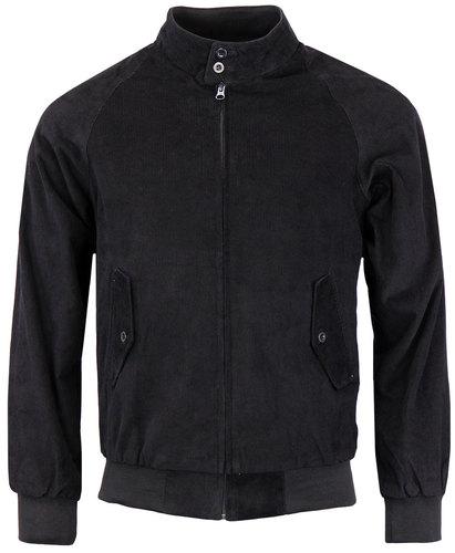 Retro 1960s Mod Mens Corduroy Harrington Jacket In Black