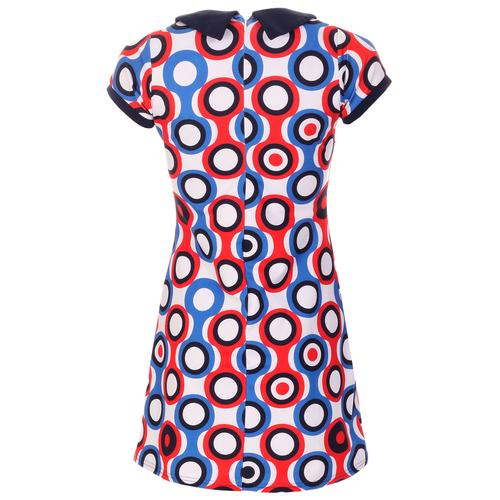 Madcap England Dollierocker Psych-Out! Circles 1960s Mod Peter Pan Collar Dress in Blue/Red