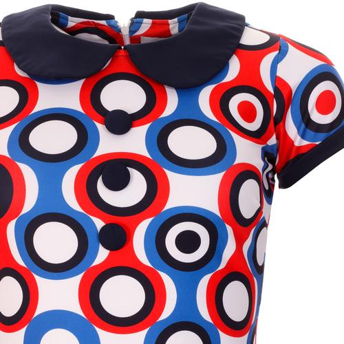 Madcap England Dollierocker Psych-Out! Circles Retro 1960s Mod Peter Pan Collar Dress in Blue
