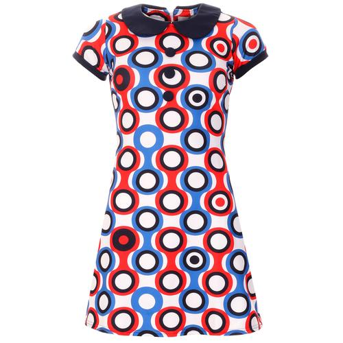 Madcap England Dollierocker Psych-Out! Circles 60s Mod Peter Pan Collar Dress in Blue/Red/White