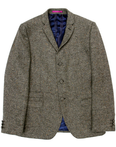 madcap england mod donegal 3 button suit blazer