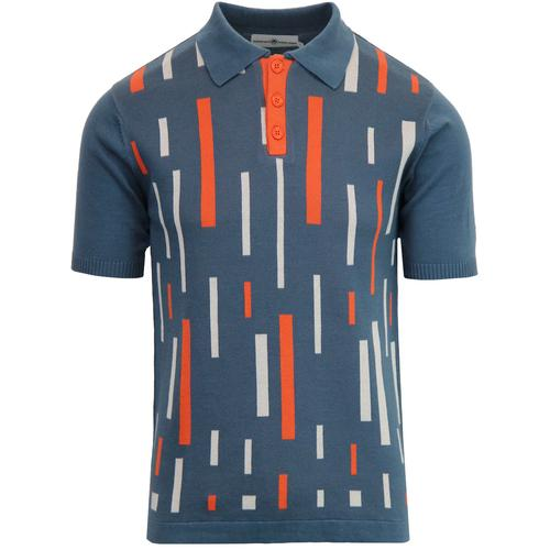 Madcap England Eames Men's 1960s Mod Colour Block Polo Shirt in Orion Blue
