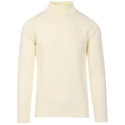 Madcap England Eastwood Men's 1960s Mod Mock Turtleneck Jumper in Winter White