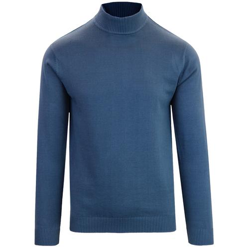 Madcap England Eastwood 1960s Mod Turtleneck Jumper in Orion Blue