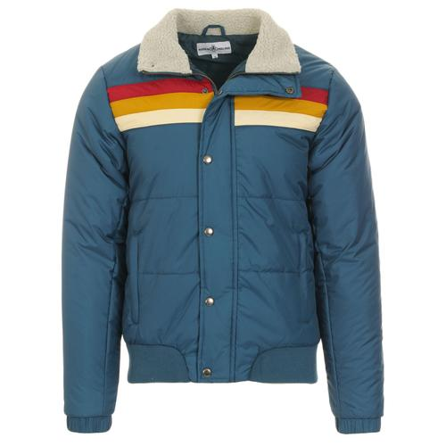 Madcap England Edge Men's Retro 1970s RAinbow Stripe Ski Jacket in Moroccan Blue