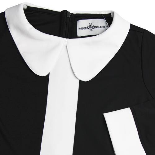 Madcap England Odyssey Retro 1960s Mod Stripe Panel Dress in Black and White
