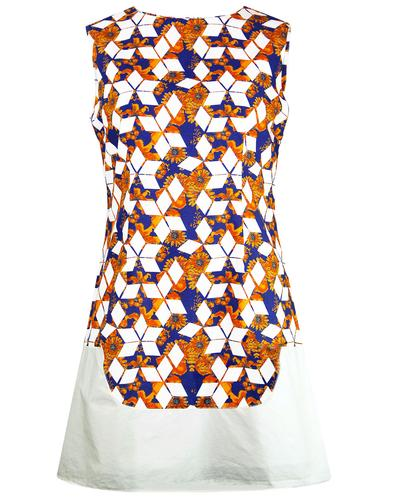 madcap england geo floral retro mod shift dress