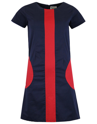 madcap england honey mod circle pocket dress navy