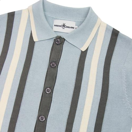 Madcap England Kazimir 60s Mod Abstract Stripe Knitted Polo Cardigan in Blue Fog